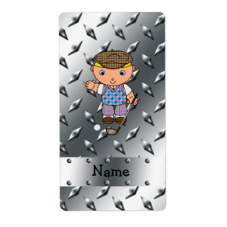Personalized name golf player silver diamond plate shipping label