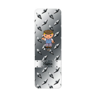 Personalized name golf player silver diamond plate return address label
