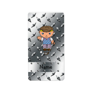 Personalized name golf player silver diamond plate address label