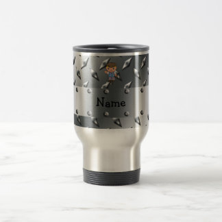 Personalized name golf player silver diamond plate 15 oz stainless steel travel mug
