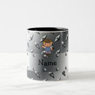 Personalized name golf player silver diamond plate Two-Tone coffee mug