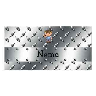 Personalized name golf player silver diamond plate picture card