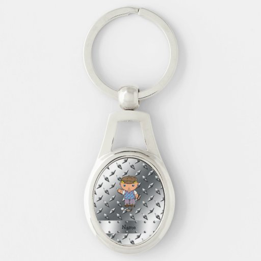 Personalized name golf player silver diamond plate key chains