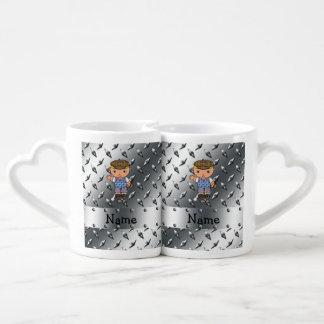 Personalized name golf player silver diamond plate couples' coffee mug set