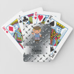 Personalized name golf player silver diamond plate bicycle playing cards