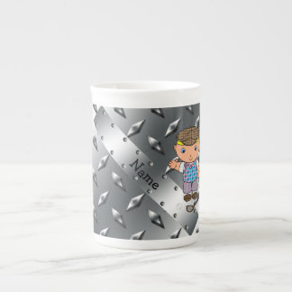 Personalized name golf player silver diamond plate tea cup