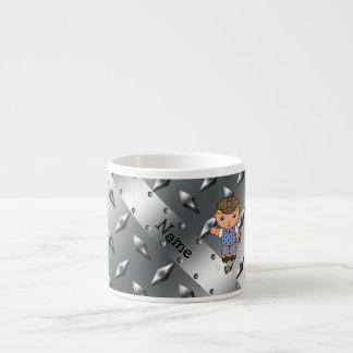 Personalized name golf player silver diamond plate 6 oz ceramic espresso cup
