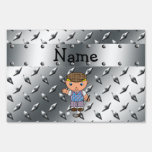 Personalized name golf player silver diamond plate yard signs