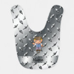 Personalized name golf player silver diamond plate baby bibs