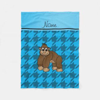 Personalized name gorilla blue houndstooth fleece blanket