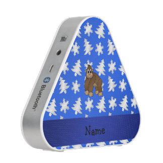 Personalized name gorilla blue snowflakes trees speaker