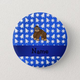 Personalized name gorilla blue snowflakes trees pinback button