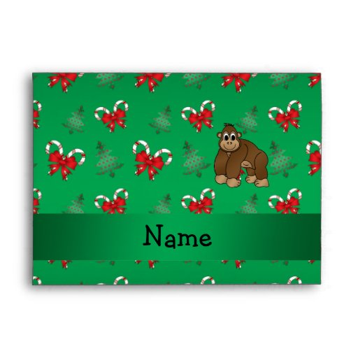 Personalized name gorilla green candy canes bows envelopes