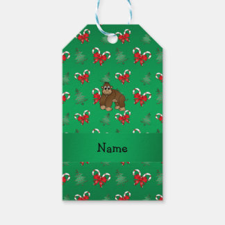 Personalized name gorilla green candy canes bows gift tags