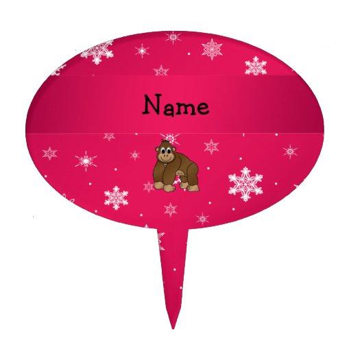Personalized name gorilla pink snowflakes cake picks