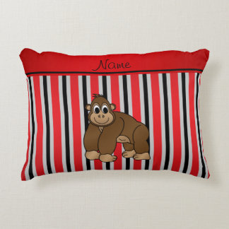 Personalized name gorilla red business stripe accent pillow