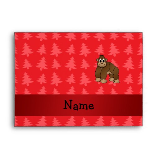 Personalized name gorilla red christmas trees envelope