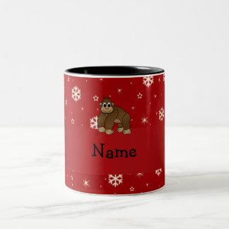 Personalized name gorilla red snowflakes Two-Tone coffee mug