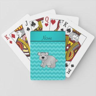 Personalized name gray koala turquoise chevrons poker deck