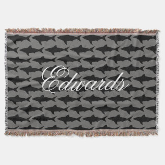 Personalized name gray shark pattern throw blanket