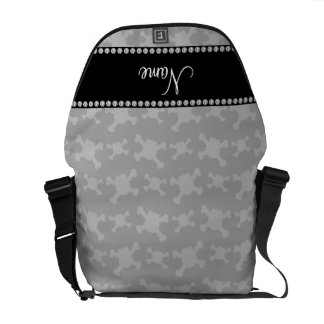Personalized name gray skulls pattern messenger bags