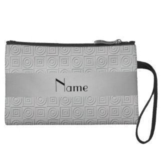 Personalized name gray square circles wristlet clutches