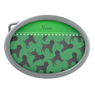 Personalized name green affenpinscher dogs oval belt buckle
