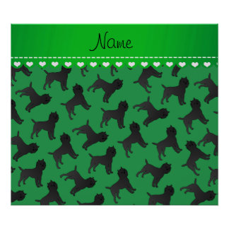 Personalized name green affenpinscher dogs poster