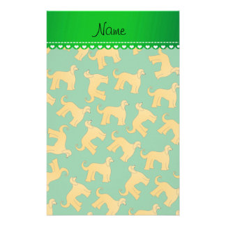 Personalized name green afghan hound dogs stationery