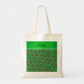 Personalized name green airedale terriers dogs tote bag