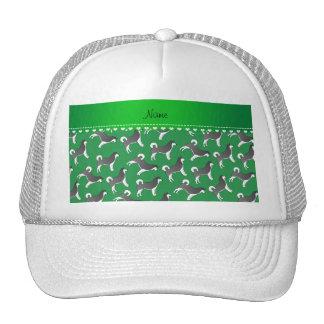 Personalized name green alaskan malamute dogs trucker hat