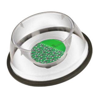 Personalized name green alaskan malamute dogs pet bowl