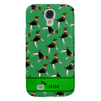 Personalized name green american foxhound dogs galaxy s4 cover