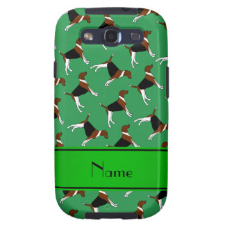 Personalized name green american foxhound dogs galaxy s3 case
