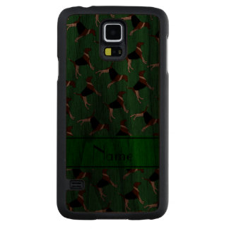 Personalized name green american foxhound dogs carved® walnut galaxy s5 slim case