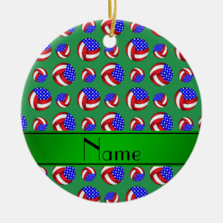 Personalized name green american volleyballs ceramic ornament