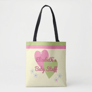 Personalized name green and pink baby toys tote bag