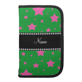 Personalized name Green and Pink stars Folio Planners