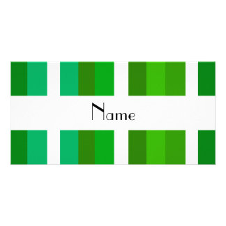 Personalized name green and white stripes photo card