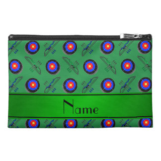 Personalized name green archery travel accessory bags