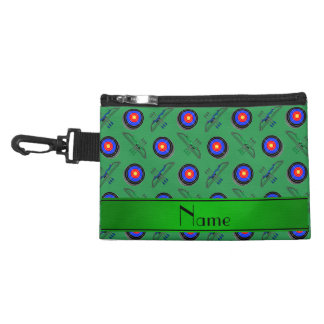 Personalized name green archery accessory bags