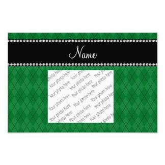Personalized name green argyle photo print