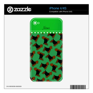 Personalized name green australian terrier dogs iPhone 4S skins