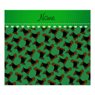 Personalized name green australian terrier dogs poster
