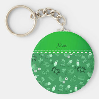 Personalized name green baby animals basic round button keychain