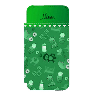 Personalized name green baby animals wallet case for iPhone SE/5/5s