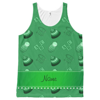 Personalized name green baby blocks mobile toys All-Over print tank top