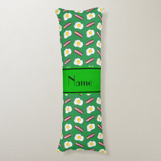Personalized name green bacon eggs body pillow