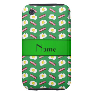 Personalized name green bacon eggs tough iPhone 3 case