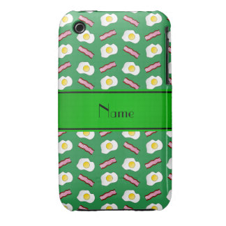 Personalized name green bacon eggs iPhone 3 covers